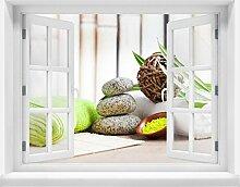3D-Wandsticker Handtücher und Salz, Sauna Aufkleber Mauerdurchbruch M0961 | Design 03 | mittel