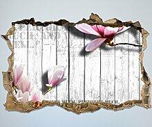 3D-Wandsticker Holz rosa Blüten Aufkleber Mauerdurchbruch | Design 01 | mittel