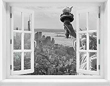 3D-Wandsticker Manhattan Liberty Statue Aufkleber Mauerdurchbruch M0727 | Design 03 | extra groß
