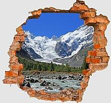 3D-Wandsticker Morteratsch Gletscher Alpen Aufkleber Mauerdurchbruch M0236 | Design 02 | extra groß