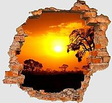 3D-Wandsticker Steppe Sonnenuntergang Aufkleber Mauerdurchbruch M0367 | Design 02 | mittel