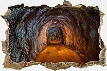 3D-Wandsticker unterirdischen Tunnel Aufkleber Mauerdurchbruch M0816 | Design 01 | mittel