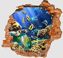 3D-Wandsticker Unterwasser Aufkleber Mauerdurchbruch M0011 | Design 02 | mittel