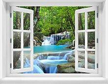 3D-Wandsticker Wasserfall im Wald Aufkleber Mauerdurchbruch M0485 | Design 03 | extra groß
