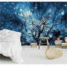 3D-Wandtapete mit blauen Sternen und Baum, Stoff,