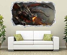 3D Wandtattoo 3D Dragon Drache Feuer Flamme