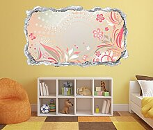 3D Wandtattoo Blumen rosa Kinderzimmer Sterne