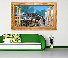 3D Wandtattoo Dino Donosaurier Wasser Dinos Kinderzimmer Fenster Wandbild Tattoo Wohnzimmer Wand Aufkleber 11L1809, Wandbild Größe F:ca. 162cmx97cm