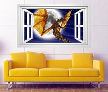 3D Wandtattoo Drache Dragon Kinderzimmer Mond Fenster selbstklebend Wandbild sticker Wohnzimmer Wand Aufkleber 11H668, Wandbild Größe F:ca. 97cmx57cm
