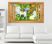 3D Wandtattoo Einhorn Kinderzimmer Märchen Elfen