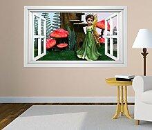 3D Wandtattoo Fee Wald Kinderzimmer Pilze Fenster selbstklebend Wandbild sticker Wohnzimmer Wand Aufkleber 11H619, Wandbild Größe F:ca. 162cmx97cm