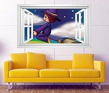 3D Wandtattoo Hexe Kinderzimmer Hexenbesen Regenbogen Fenster selbstklebend Wandbild sticker Wand Aufkleber 11H631, Wandbild Größe F:ca. 97cmx57cm