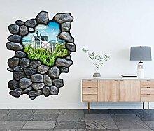 3D Wandtattoo inkl. Uhr 97x120cm Neuschwanstein