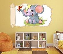 3D Wandtattoo Kinderzimmer Cartoon Elefant Baby