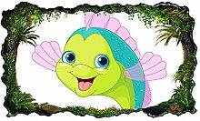 3D Wandtattoo Kinderzimmer Cartoon Fisch Goldfisch