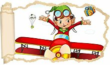 3D Wandtattoo Kinderzimmer Cartoon Flugzeug Elf
