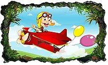3D Wandtattoo Kinderzimmer Cartoon Flugzeug