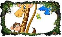 3D Wandtattoo Kinderzimmer Cartoon Giraffe Löwe