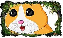 3D Wandtattoo Kinderzimmer Cartoon Hamster braun