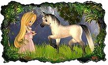 3D Wandtattoo Kinderzimmer Pferd Prinzessin Wald
