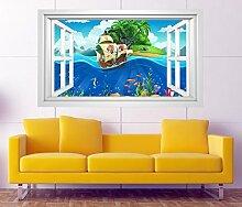 3D Wandtattoo Kinderzimmer Pirat Schiff Schatzkarte Meer Fenster selbstklebend Wandbild sticker Wand Aufkleber 11H642, Wandbild Größe F:ca. 162cmx97cm