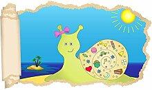 3D Wandtattoo Kinderzimmer Schnecke Sonne Meer