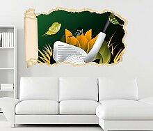 3D Wandtattoo Kinderzimmer Sport Golf Schläger Tapete Wand Aufkleber Wanddurchbruch Deko Wandbild Wandsticker 11N1218, Wandbild Größe F:ca. 162cmx97cm