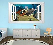 3D Wandtattoo Meerjungfrau Delfin Ozean Meer Kinderzimmer Fenster selbstklebend Wandbild sticker Wand Aufkleber 11H647, Wandbild Größe F:ca. 162cmx97cm
