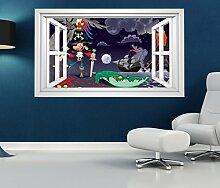 3D Wandtattoo Pirat Vulkan Krokodil Schatz Kinderzimmer Fenster selbstklebend Wandbild sticker Wand Aufkleber 11H742, Wandbild Größe F:ca. 97cmx57cm