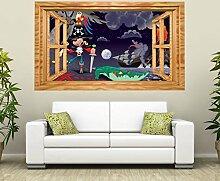 3D Wandtattoo Pirat Vulkan Krokodil Schatz Kinderzimmer Fenster selbstklebend Wandbild sticker Wand Aufkleber 11H819, Wandbild Größe F:ca. 97cmx57cm