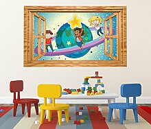 3D Wandtattoo Saturn Kinderzimmer Sterne Weltall Fenster selbstklebend Wandbild sticker Wand Aufkleber 11H828, Wandbild Größe F:ca. 162cmx97cm