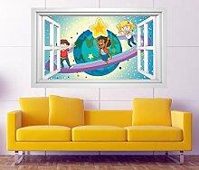 3D Wandtattoo Saturn Kinderzimmer Sterne Weltall Fenster selbstklebend Wandbild sticker Wohnzimmer Wand Aufkleber 11H671, Wandbild Größe F:ca. 97cmx57cm