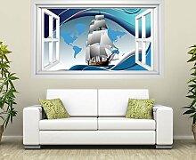 3D Wandtattoo Schiff Boot Welt Karte Reise Kinderzimmer Fenster selbstklebend Wandbild sticker Wand Aufkleber 11H672, Wandbild Größe F:ca. 140cmx82cm
