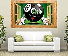 3D Wandtattoo Sport Billard Kugel Kinderzimmer Fenster selbstklebend Wandbild sticker Wohnzimmer Wand Aufkleber 11H864, Wandbild Größe F:ca. 140cmx82cm