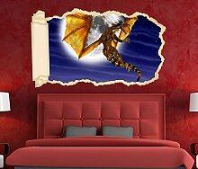 3D Wandtattoo Tapete Drache Dragon Kinderzimmer Mond Wand Aufkleber Wanddurchbruch Deko Wandbild Wandsticker 11N1132, Wandbild Größe F:ca. 97cmx57cm