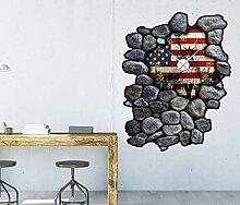 3D Wandtattoo Uhr ca. 97x120cm Flagge Fahne USA