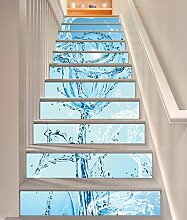 "3D Wasser Rosen 5 Stair Risers Dekoration Fototapete Vinyl Aufkleber Tapete DE Carly (15x H:18cm x W:102cm (7""x40""))"