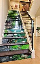 "3D Wasserfall Baum Schwan 86 Stair Risers Dekoration Fototapete Vinyl Aufkleber Tapete DE Carly (15x H:18cm x W:102cm (7""x40""))"