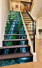 "3D Wasserfall Klippe Baum 62 Stair Risers Dekoration Fototapete Vinyl Aufkleber Tapete DE Carly (13x H:18cm x W:102cm (7""x40""))"