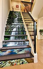 "3D Wasserfall Schwan Fluss 5331 Stair Risers Dekoration Fototapete Vinyl Aufkleber Tapete DE Carly (15x H:18cm x W:102cm (7""x40""))"