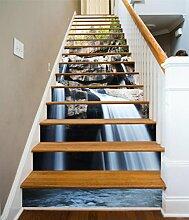 "3D Wasserfall Teich 43 Stair Risers Dekoration Fototapete Vinyl Aufkleber Tapete DE Carly (15x H:18cm x W:94cm (7""x37""))"