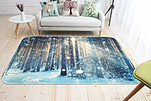 3D Weißer Schnee Wald 90 Rutschfest Teppich Matte