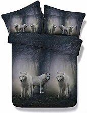 3D White Wolf Muster Bettwäsche-Sets Bettbezug
