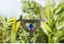 3D Windspiel aus Edelstahl mit Glaskugel VOGEL -