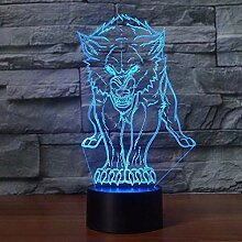 3D Wolf Lampe USB Power 7 Farben Amazing Optical
