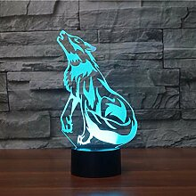3D Wolf Optische Illusions Lampe 7 Farben