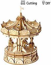 3D Wooden Puzzle DIY Merry-Go-Rund-Spiele-Geschenk
