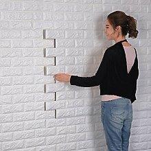 3D Ziegelstein Tapete,Selbstklebend Brick Muster Tapete,Fototapete Wandaufkleber für Schlafzimmer Wohnzimmer moderne tv schlafzimmer wohnzimmer dekor, 60 * 60cm, weiß (10)