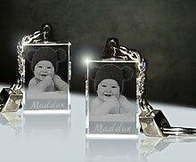 3Dglas 2 Stück Glas Schlüsselanhänger mit