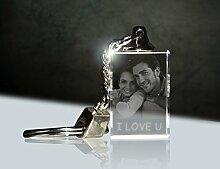 3Dglas Glas Schlüsselanhänger mit deinem Foto